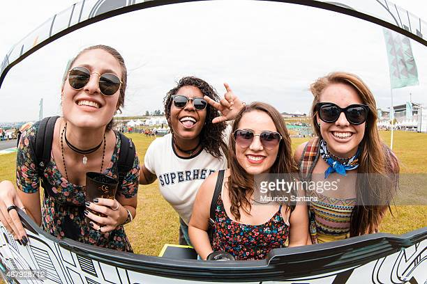 Music fans seen at Lollapalooza Brazil 2015 at Autodromo de Interlagos on March 28 2015 in Sao Paulo Brazil