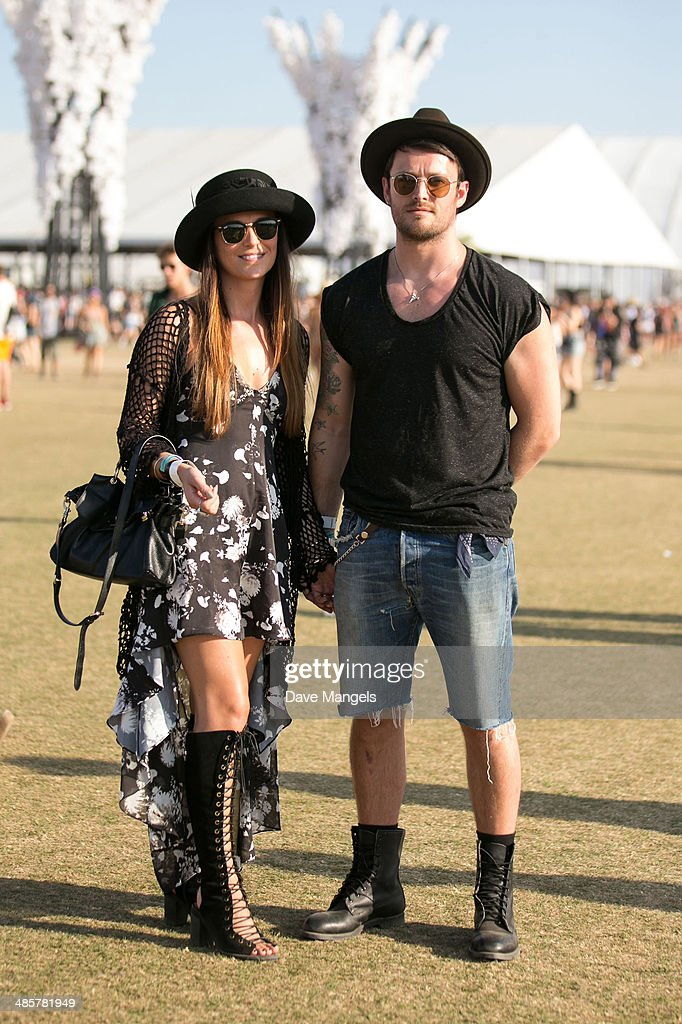 Music fans Tory and Gary from England attend day 3 of the 2014 Coachella Valley Music & Arts Festival at the Empire Polo Club on April 20, 2014 in Indio, California.