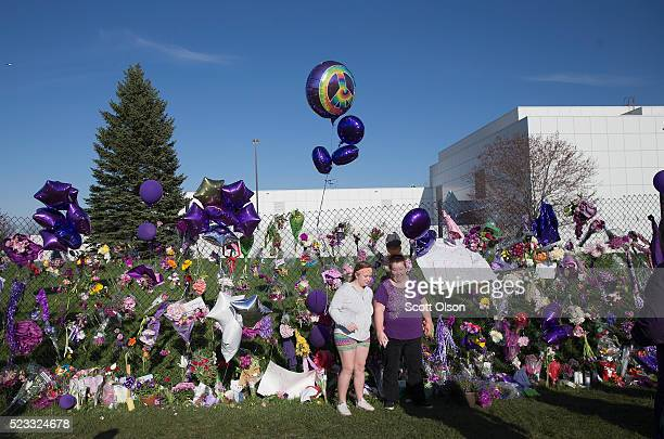 Music fans visit a memorial outside Paisley Park the home and studio of Prince on April 22 2016 in Chanhassen Minnesota Prince was pronounced dead...