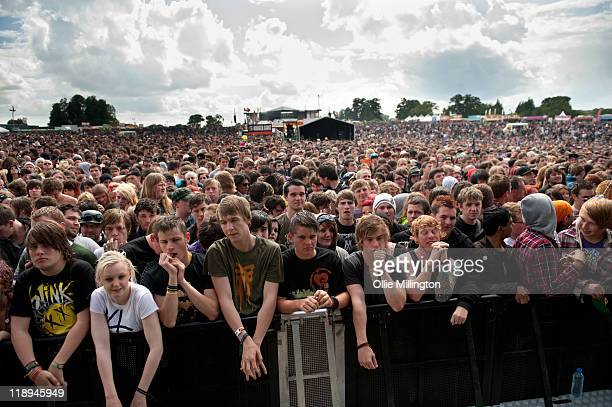 Music fans waiting for the Sum 41 performs onstage at Sonisphere Festival at Knebworth House on July 9 2011 in Stevenage England