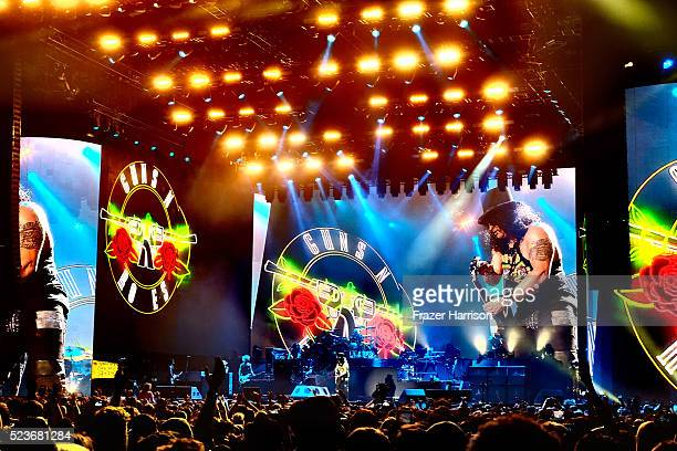 Music fans watch the Guns N' Roses performance onstage during day 2 of the 2016 Coachella Valley Music Arts Festival Weekend 2 at the Empire Polo...