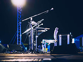 Music Festival Event Microphone on Concert Stage Live music Outdoor