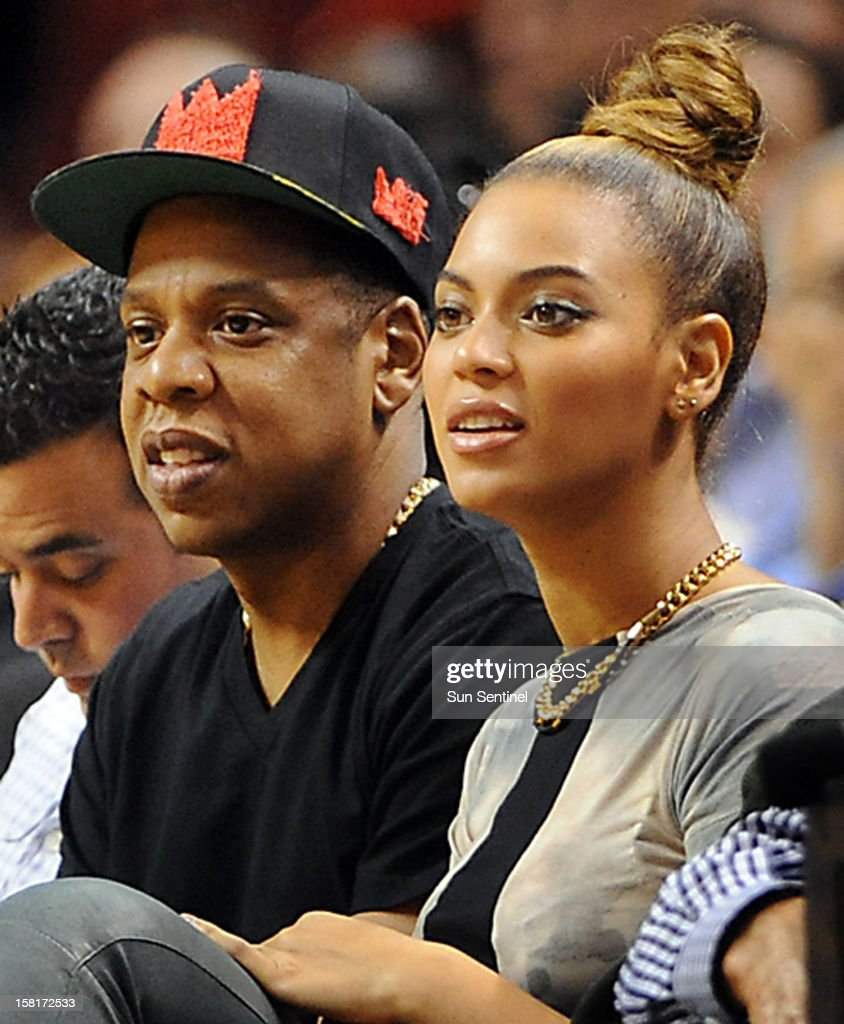 Music giants Jay-Z and Beyonce attend the Miami Heat vs. Atlanta Hawks' basketball game at American Airlines Arena on Monday, December 10, 2012, in Miami, Florida.
