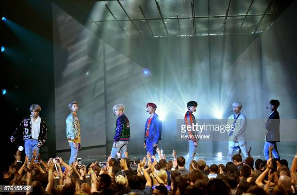 Music group BTS performs onstage during the 2017 American Music Awards at Microsoft Theater on November 19 2017 in Los Angeles California