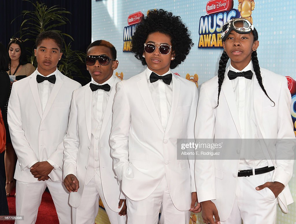 Music group Midless Behavior members Roc Royal Prodigy Princeton and Ray Ray arrive to the 2013 Radio Disney Music Awards at Nokia Theatre LA Live on...