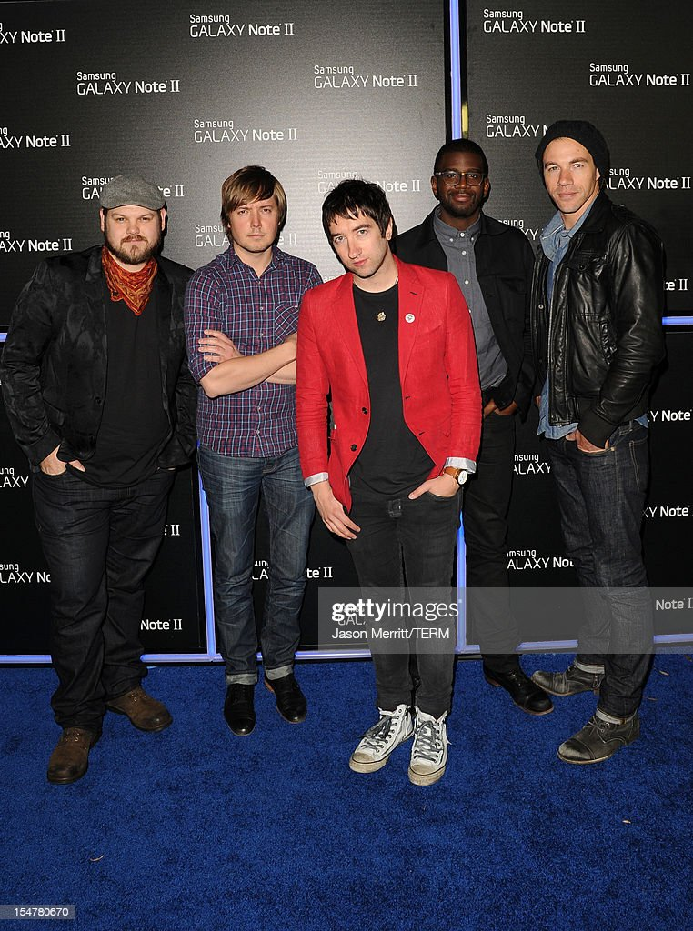 Music group Plain White T's attend the Samsung Galaxy Note II Beverly Hills Launch Party on October 25, 2012 in Los Angeles, California.