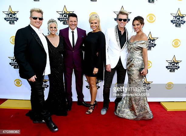 Music group Rascal Flatts members Gary LeVox Jay DeMarcus and Joe Don Rooney attend the 50th Academy Of Country Music Awards at ATT Stadium on April...