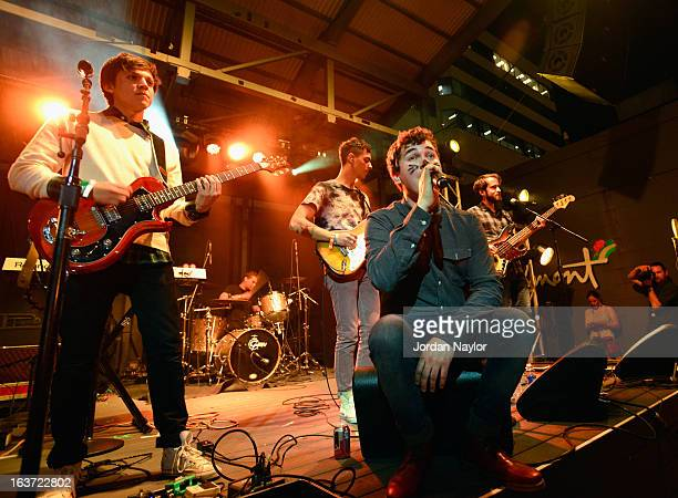 Music group Surfer Blood performs onstage at the Warner Bros Music Showcase during the 2013 SXSW Music Film Interactive Festival at The Belmont on...