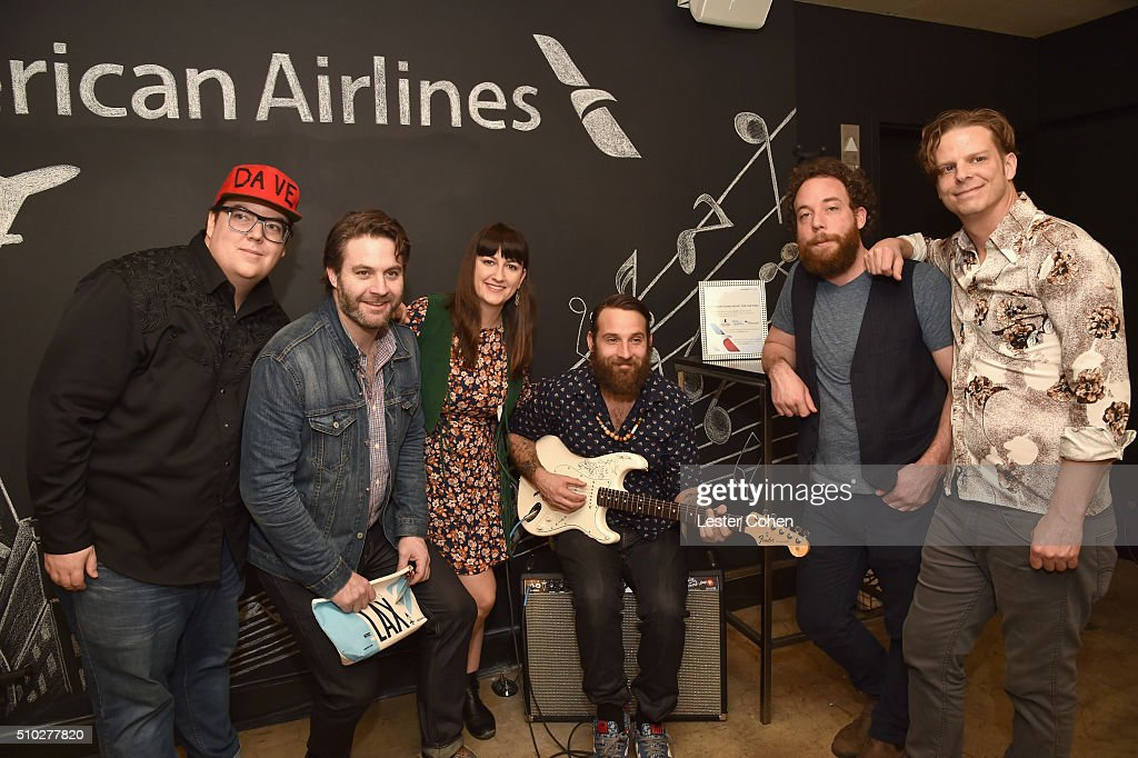 Music group The Strumbellas attend Lucian Grainge's 2016 Artist Showcase Presented by American Airlines and Citi at The Theatre at Ace Hotel Downtown LA on February 14, 2016 in Los Angeles, California.