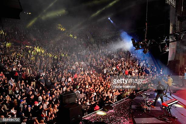 Music group Weezer perform onstage at KROQ Weenie Roast 2016 at Irvine Meadows Amphitheatre on May 14 2016 in Irvine California