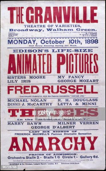 Music hall poster for the Granville Theatre Walham Green 10 October 1898 Top of the bill is Edison's 'Lifesize Animated Pictures' Thomas Alva Edison...