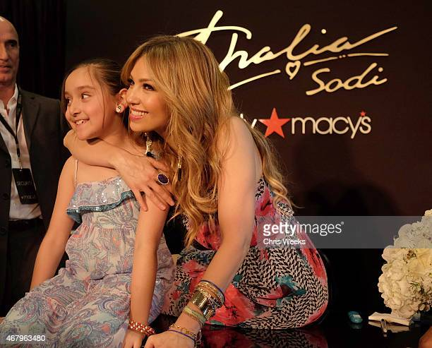 Music icon Thalia poses with fans during the launch of the Thalia Sodi Collection at Macy's Victoria Gardens on March 28 2015 in Rancho Cucamonga...