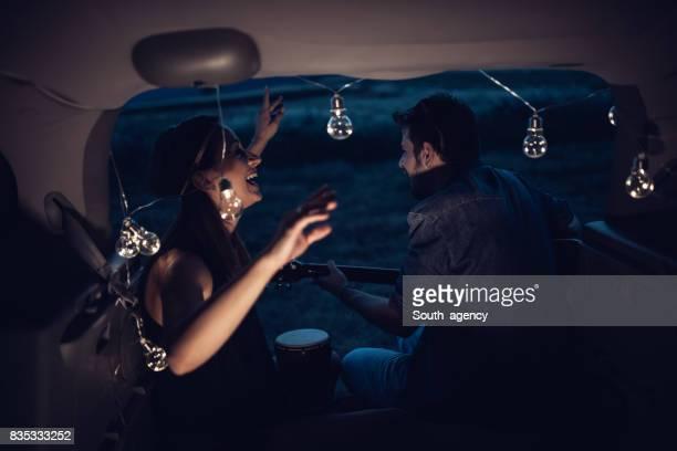 Music in the mini van trunk