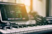 Music Keyboard in home computer music studio
