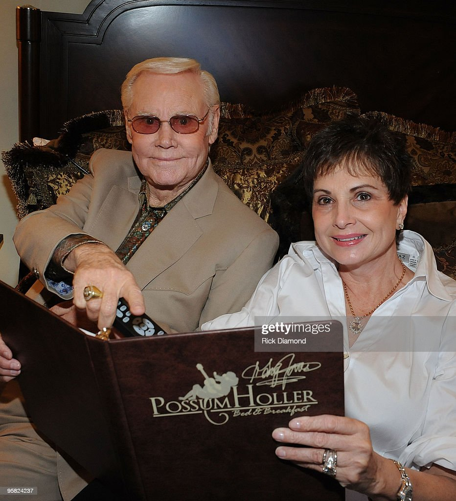 Music Legend George Jones and Nancy Jones, his wife enjoy some time together at The George Jones Possum Holler Bed & Breakfast during the Country Crossing Grand Opening Kick-Off Celebration at Country Crossing on January 16, 2010 in Dothan, Alabama.
