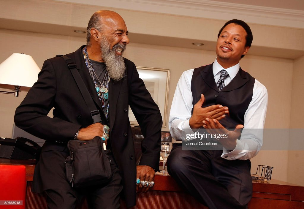 Music Legend Richie Havens speaks with Singer/Actor Terrence Howard in the green room following a performance by Terrence Howard at The Beat The Chic Party at Bloomingdale's on September 3, 2008 in New York City