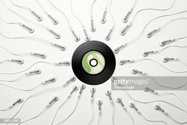 Music madness. Sex sperm vinyl creativity headphones