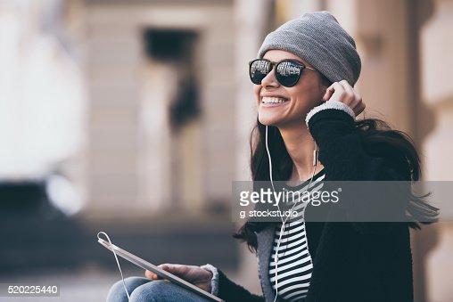 La musique fait de sa journée. : Photo