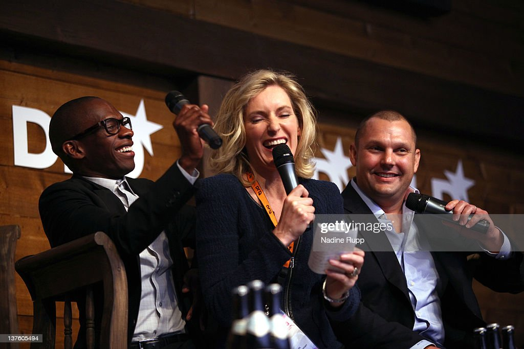 Music manager Troy Carter (L), founder, Chairman and CEO of Atom Factory, DLDwoman Chairwoman <a gi-track='captionPersonalityLinkClicked' href=/galleries/search?phrase=Maria+Furtwaengler&family=editorial&specificpeople=2135673 ng-click='$event.stopPropagation()'>Maria Furtwaengler</a> and Matt Michelsen, CEO & Founder of The Backplane, which powers Lady Gaga's social media community, speak during the Digital Life Design conference (DLD) at HVB Forum on January 23, 2012 in Munich, Germany. DLD (Digital - Life - Design) is a global conference network on innovation, digital, science and culture which connects business, creative and social leaders, opinion-formers and investors for crossover conversation and inspiration.