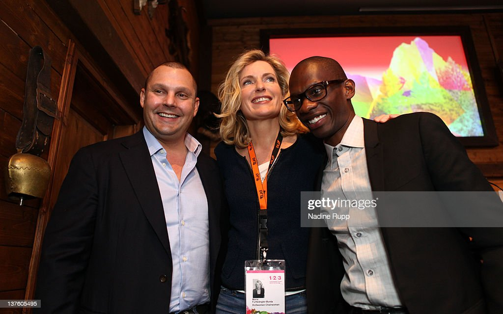 Music manager Troy Carter (R), founder, Chairman and CEO of Atom Factory, DLDwoman Chairwoman <a gi-track='captionPersonalityLinkClicked' href=/galleries/search?phrase=Maria+Furtwaengler&family=editorial&specificpeople=2135673 ng-click='$event.stopPropagation()'>Maria Furtwaengler</a> and Matt Michelsen, CEO & Founder of The Backplane, which powers Lady Gaga's social media community, pose for a picture during the Digital Life Design conference (DLD) at HVB Forum on January 23, 2012 in Munich, Germany. DLD (Digital - Life - Design) is a global conference network on innovation, digital, science and culture which connects business, creative and social leaders, opinion-formers and investors for crossover conversation and inspiration.