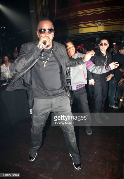 Music mogul and entrepreneur Sean 'Diddy' Combs Justin Combs and DJ Prostyle celebrate DJ Prostyle's birthday at Webster Hall on April 28 2011 in New...