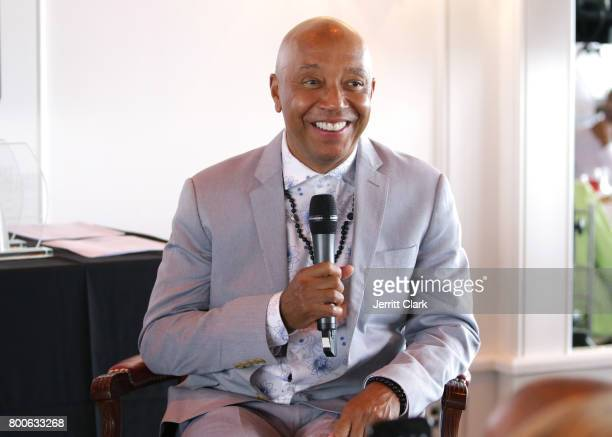 Music Mogul Russell Simmons speaks at the Culture Creators 2nd Annual Awards Brunch Presented By Motions Hair And Ciroc at Mr C Beverly Hills on June...