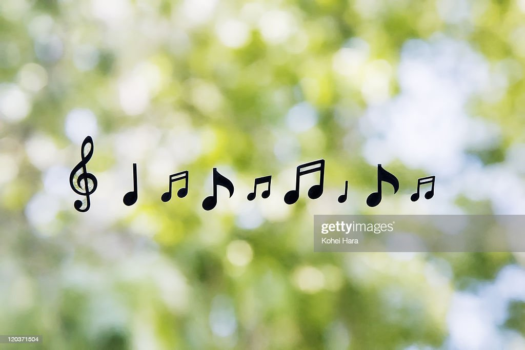 music notes and green