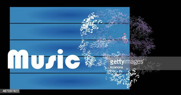 music notes  woman portrait silhouette  in blau pentagram
