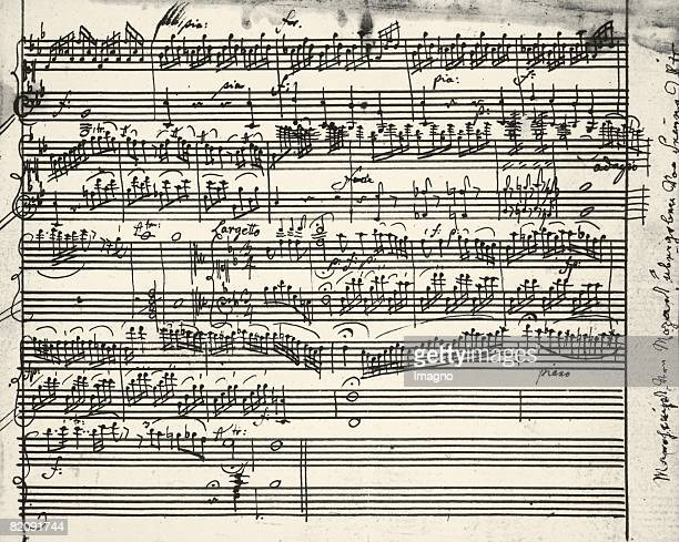 Music notes written by Austrian composer Wolfgang Amadeus Mozart [Wolfgang Amadeus Mozart sterreichischer Komponist MusikAutograph]