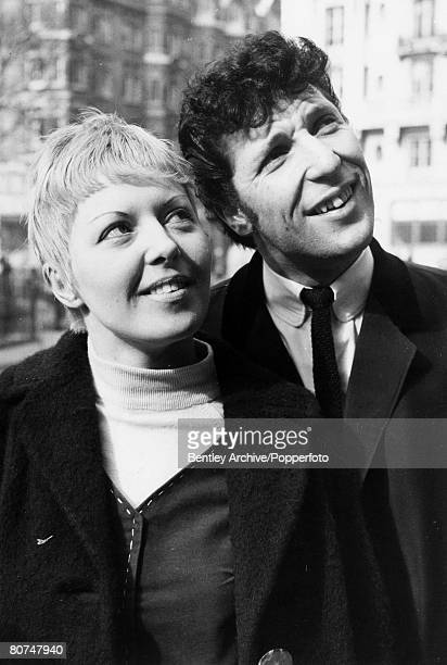 2nd March 1965 Welsh born pop star Tom Jones pictured with his wife Melinda Woodward in London's Hanover Square