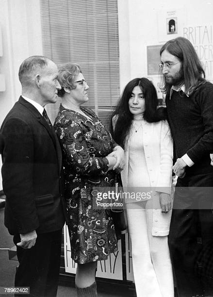 12th December 1969 John and Yoko Ono at the Apple offices London with the parents of the hanged James Hanratty who was executed for the A6 murder