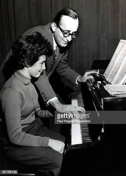 2nd March 1955 Child prodigy pianist Martha Argerich born Buenos Aires Argentina 1941 pictured in Vienna with the virtuoso Friedrich Gulda with whom...