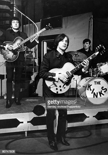 circa 1965 Dave Davies front Peter Quaife and Mick Avory on drums of 'The Kinks' group