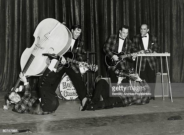 Music Personalities 'Rock and Roll' pic February 1957 Dominion Theatre London American 'rock and roll' legend Bill Haley 2nd left born 1925 on stage...