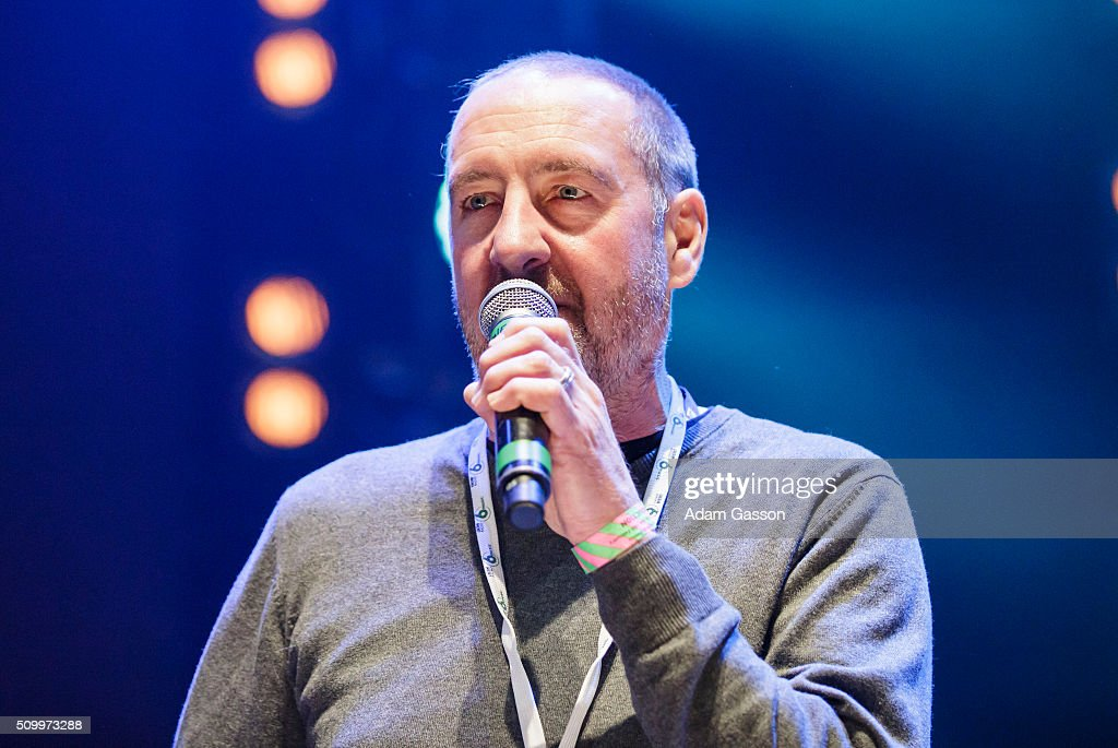Music presenter Marc Riley comperes on the second day of the BBC 6 Music Festival at Colston Hall on February 13, 2016 in Bristol, England.