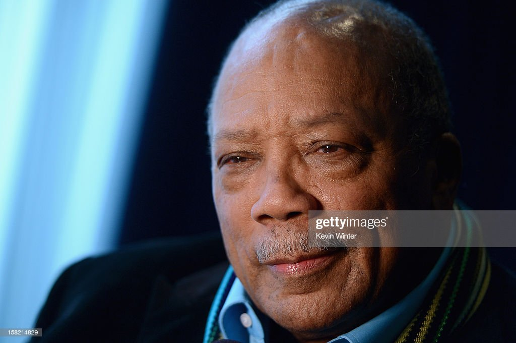 Music producer and Ahmet Ertegun Award recipient <a gi-track='captionPersonalityLinkClicked' href=/galleries/search?phrase=Quincy+Jones&family=editorial&specificpeople=171797 ng-click='$event.stopPropagation()'>Quincy Jones</a> attends the Rock and Roll Hall of Fame 2013 Inductees announcement at Nokia Theatre L.A. Live on December 11, 2012 in Los Angeles, California.