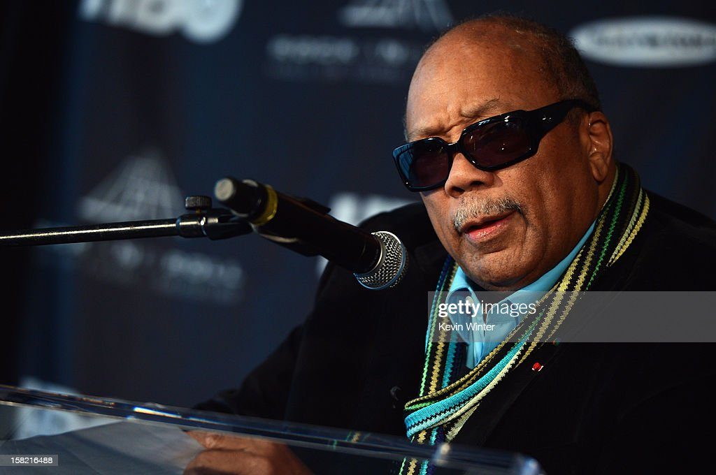 Music producer and Ahmet Ertegun Award recipient Quincy Jones speaks at the press conference for the Rock and Roll Hall of Fame 2013 Inductees announcement at Nokia Theatre L.A. Live on December 11, 2012 in Los Angeles, California.