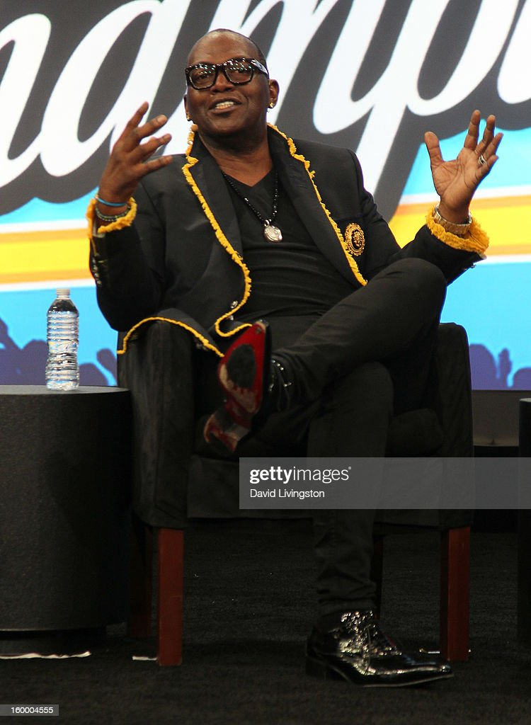 Music producer and NAMM Music for Life award recipient Randy Jackson appears on stage at the 2013 NAMM Show - Day 1 at the Anaheim Convention Center on January 24, 2013 in Anaheim, California.