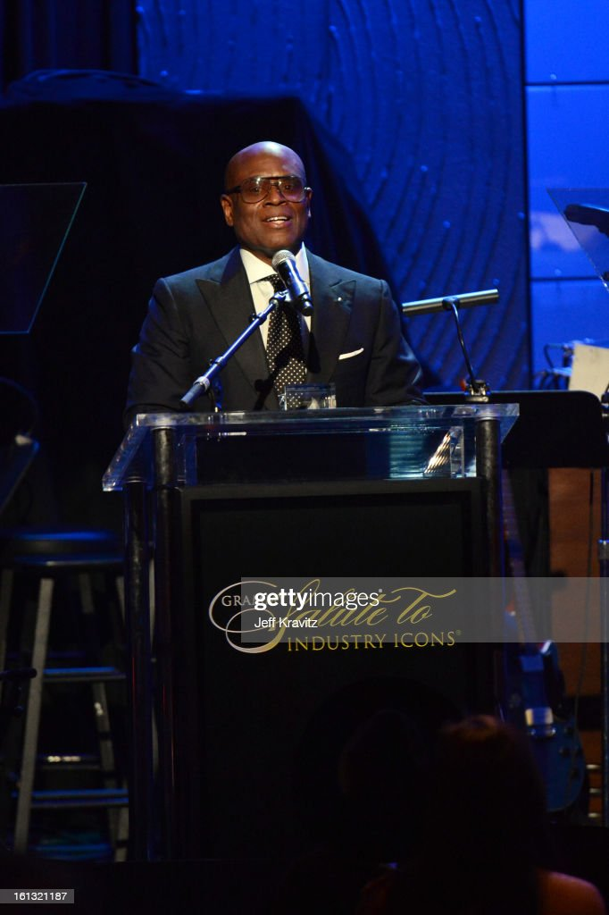 Music producer Antonio 'L.A.' Reid speaks onstage at Clive Davis and The Recording Academy's 2013 GRAMMY Salute to Industry Icons Gala held at The Beverly Hilton Hotel on February 9, 2013 in Beverly Hills, California.