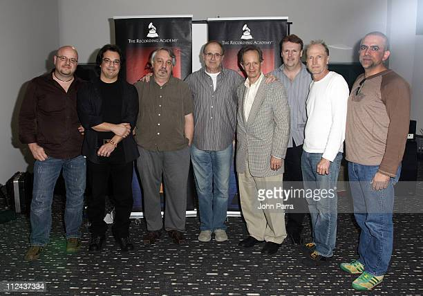 Music producer Bob Ezrin and Latin Grammy Florida Chapter Committee pose at the Gibson Studio March 14 2008 in Miami Beach Florida