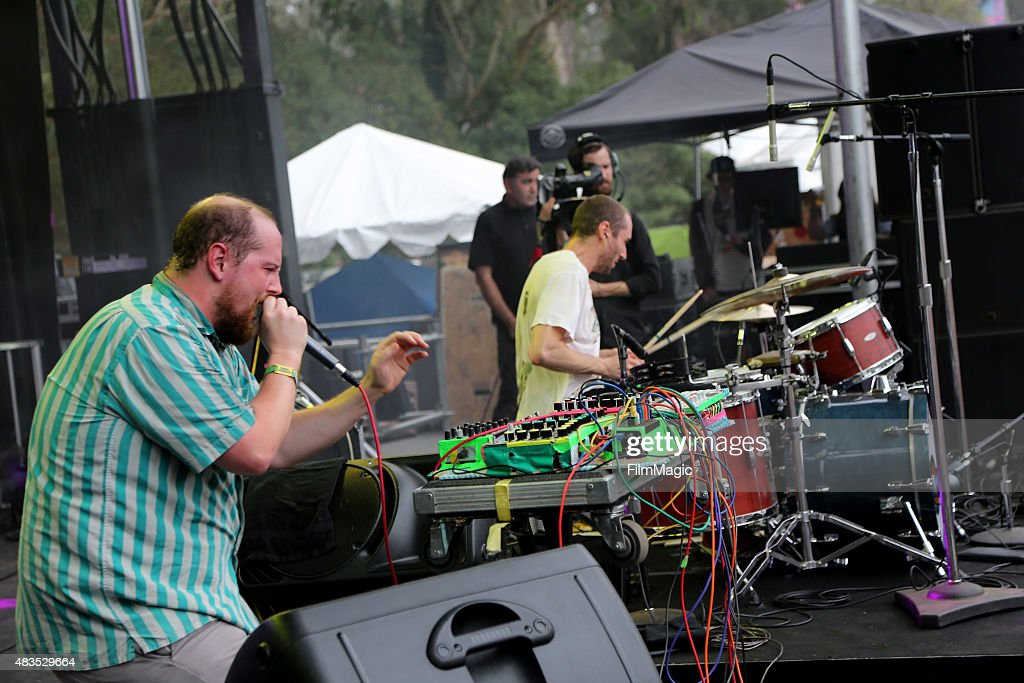 Music producer Dan Deacon performs at the Panhandle Stage during day 3 of the 2015 Outside Lands Music And Arts Festival at Golden Gate Park on August 9, 2015 in San Francisco, California.
