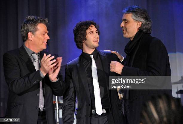 Music producer David Foster and singers Josh Groban and Andrea Bocelli during the 2008 Clive Davis PreGRAMMY party at the Beverly Hilton Hotel on...