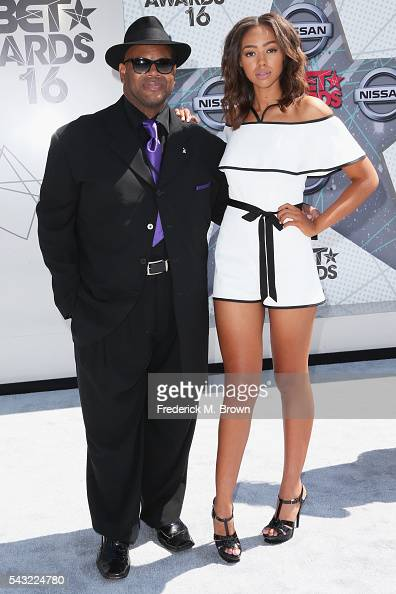 Music producer Jimmy Jam and model Bella Harris attend the 2016 BET Awards at the Microsoft Theater on June 26 2016 in Los Angeles California