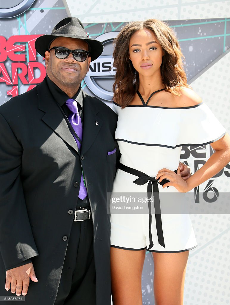 Music producer <a gi-track='captionPersonalityLinkClicked' href=/galleries/search?phrase=Jimmy+Jam&family=editorial&specificpeople=211251 ng-click='$event.stopPropagation()'>Jimmy Jam</a> (L) and model Bella Harris attend the 2016 BET Awards at Microsoft Theater on June 26, 2016 in Los Angeles, California.