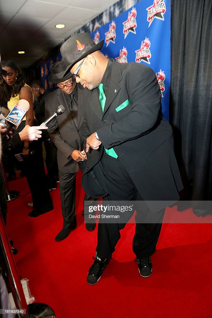 Music Producer Jimmy Jam Harris shows off his shoes on the All-Star Red Carpet prior to the 2013 NBA All-Star Game presented by Kia Motors on February 17, 2013 at the Toyota Center in Houston, Texas.