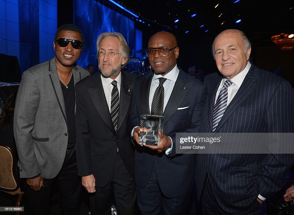 Music producer Kenneth 'Babyface' Edmonds, NARAS President Neil Portnow, President's Merit Award recipient Antonio 'L.A.' Reid, and Chairman/CEO of Sony Music Entertainment Doug Morris attend the 55th Annual GRAMMY Awards Pre-GRAMMY Gala and Salute to Industry Icons honoring L.A. Reid held at The Beverly Hilton on February 9, 2013 in Los Angeles, California.