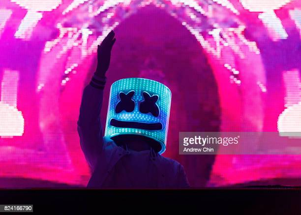 Music producer Marshmello performs on stage during Day 1 of Center Of Gravity on July 28 2017 in Kelowna Canada