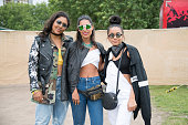 Music producer Monna Mansour wears a reclaimed vintage leather jacket Beyond Retro Army jacket Zara top Levi's jeans Calvin Klein bag and sunglasses...