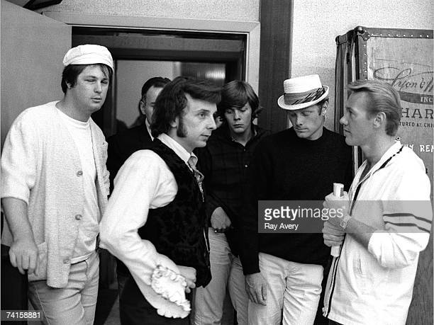 Music producer Phil Spector with 'Beach Boys' Brian Wilson Mike Love and 'Righteous Brother' Bobby Hatfield in 1965 at Gold Star Studios in Los...