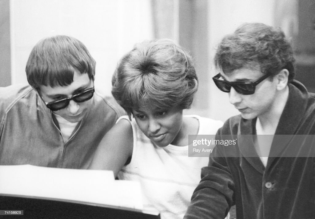 Music producer <a gi-track='captionPersonalityLinkClicked' href=/galleries/search?phrase=Phil+Spector&family=editorial&specificpeople=239134 ng-click='$event.stopPropagation()'>Phil Spector</a> with singer Darlene Love and arranger Jack Nitzsche during a recording session for Spector's compilation album titled 'A Christmas Gift To You' on in 1963 at Gold Star Studios in Los Angeles, California.